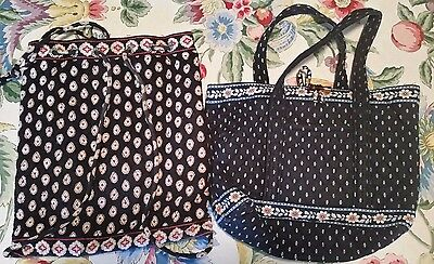 Lot of 2 Vera Bradley Bags Classic Black Drawstring + Alpine Black Tote