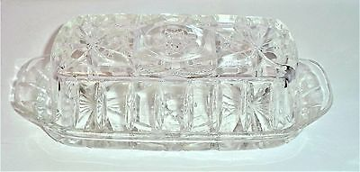 Vintage Anchor Hocking Glass Star of David Prescut EAPC Covered Butter Dish