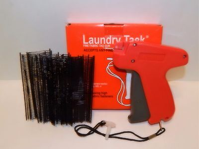 FINE CLOTHING PRICE LABEL TAGGING TAGGER GUN w/ 1000 black barbs FASTENER 1""