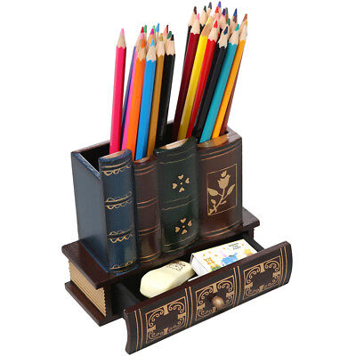 LIEOMO Library Books Design Wooden Caddy Pencil Holder Office Decorative