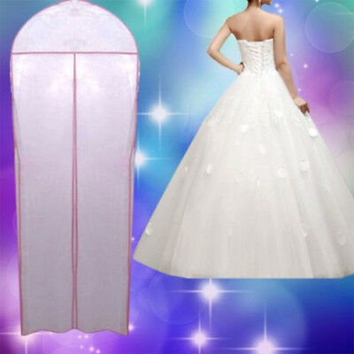 Wedding Evening Dress Gown Garment Storage Cover Bag Protector Zipper Pink White