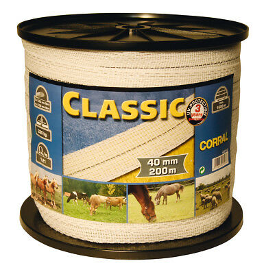 Corral Classic Fencing Tape 200M X 40Mm Livestock Equine Fencing Horse Cattle