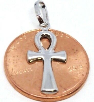 """GOLD ANKH Cross Charm Pendant 14k White Egyptian Necklace SMALL 1"""""""