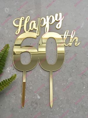 Happy 60th Birthday Cake Topper Acrylic Gold Mirror