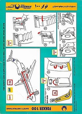 Safety Card IRAN ASEMAN Fokker 100 *VERY RARE* F100 Original Airlines turquoise