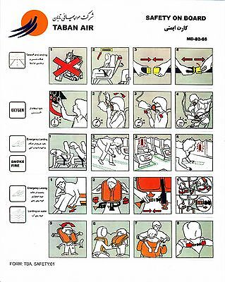 Safety Card TABAN AIR MD-82-88 TBA.SAFETY.01 *VERY Rare* Original Iran Airlines