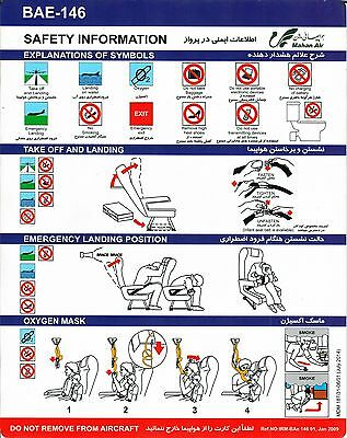 Safety Card MAHAN AIR BAE-146 Jan 2009 *Very Rare* Original Iran Avro RJ