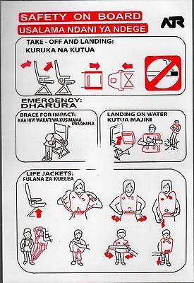 Safety Card PRECISION AIR ATR 42/72 Swahili Suaheli Tanzania Tansania RARE