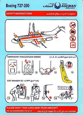 Safety Card IRAN ASEMAN Boeing 727-200 light blue *SUPER RARE*PERFECT*ORIGINAL