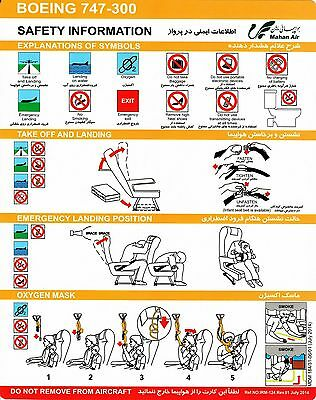 Safety Card MAHAN AIR Boeing 747-300 July 2014 *VERY Rare* Original Iran NEW NEU