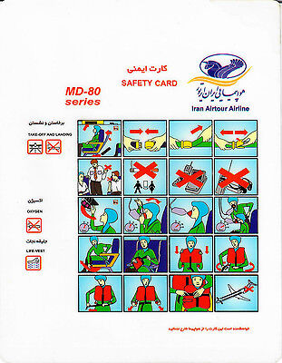Safety Card IRAN AIRTOUR AIRLINE MD-80 *Extremely RARE* Original Iran Air Tours