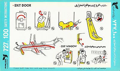 Safety Card IRANAIR Boeing 727-100 Iran Air Sicherheitskarte *RARE* Version 5