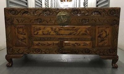 Vintage Oriental Chinese Carved Wood Trunk, Chest, Box With A Glossy Finish