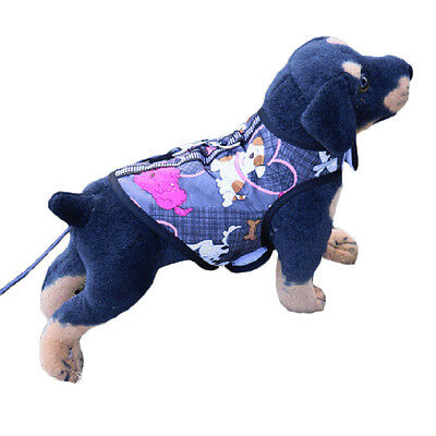 Small Dog Harness Vest Printed Puppy Cat T-Shirt Soft Chest Strap Pet Lead Set