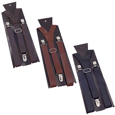 suspenders men's clip-on x back Retro Steampunk Costume Tux Dance Prom Cosplay