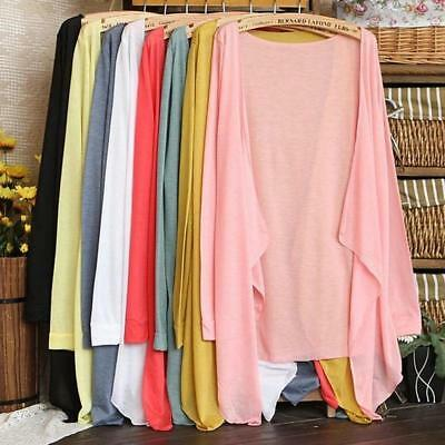 Women's Summer Casual Open Long Cardigan Long Sleeves Beach Cover Up Tops BS