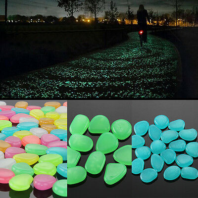 Large Pebbles Stone Glow in the Dark Home Garden Walkway Aquarium Fish Tank