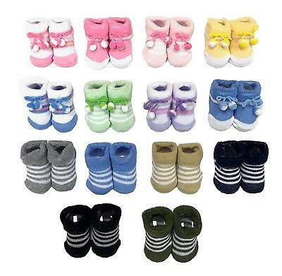 2 Pairs New Born Baby Boy/Girl/Neutral Super Stretch Socks 0-3m GIFT BOX
