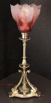 Antique Vintage Arts and Crafts Brass Table Lamp Cranberry Glass Light Shade
