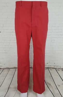 Vtg Mens Faded Red 1970s Hagar Combed Cotton Preppy Trousers Made USA W34 EF21