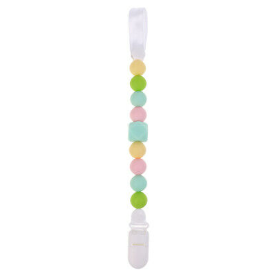 Baby Silicone Teething Pacifier Clip Beads Infant Soother Nipple Strap Chain