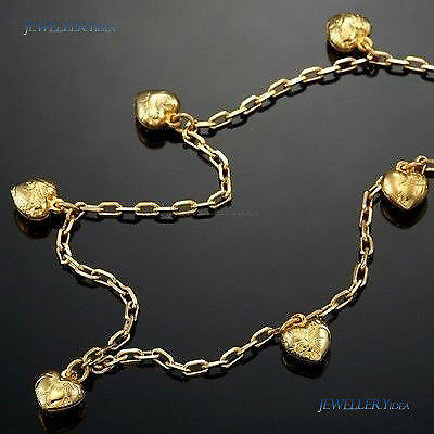 18K Yellow Gold Layered Ankle Heart Charm Anklet 10in