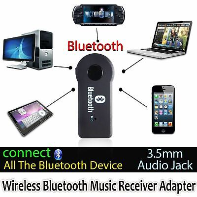 Wireless 3.0 Bluetooth Audio Receiver Stereo Music Car Adapter+ Mic 3.5mm AUX UK