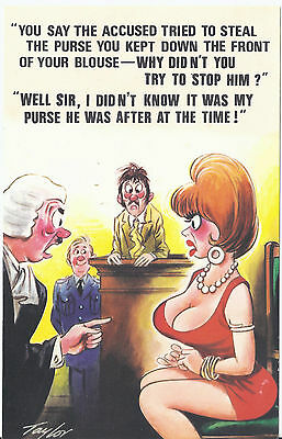 Vintage 1970's Bamforth's COMIC Postcard (As new Condition) after purse? #372