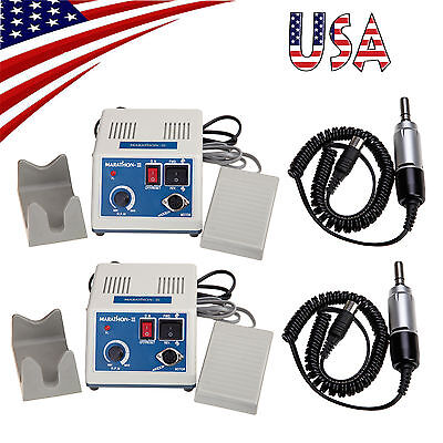US 2x Dental Electric Lab Marathon Micromotor Polishing Unit + 35K RPM Motor E