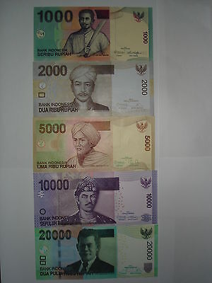 """2010-2014""Indonesia1000,2000,5000,10000,20000 Rupiah UNC Notes"",1 Set-5 pcs"""