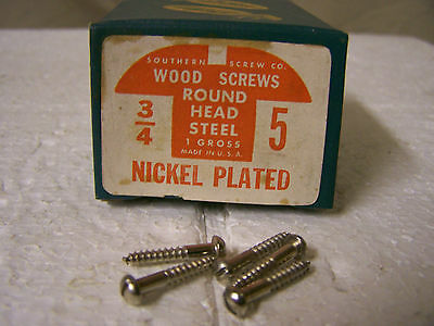 """#5 x 3/4"""" Nickel Plated Steel Screws Round Head Slotted Made in USA Qty. 144"""