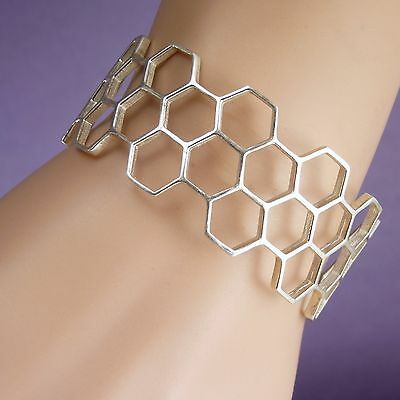 Wide HONEYCOMB CUFF SilverSari Bangle (Best for Size S-M-L) Solid 925 Stg Silver