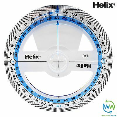HELIX 360 Degree ANGLE MEASURE Clear School Exam PROTRACTOR 360° 10cm 100mm L10