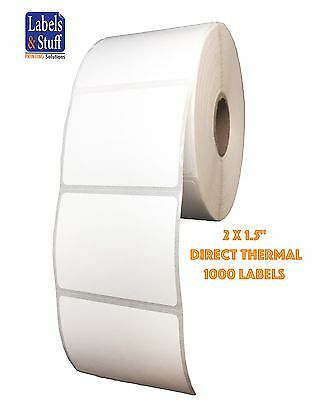 """1 Roll 2x1.5 Direct Thermal Zebra Eltron Labels 1000 Labels  2"""" x 1-1/2"""""""