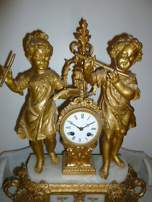 Antique French gilt spelter and marble figural clock 1880s