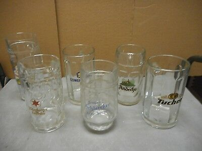 2 (Choice) of 6 Shown Vintage Glass Half Liter Beer Steins. FREE SHIPPING!