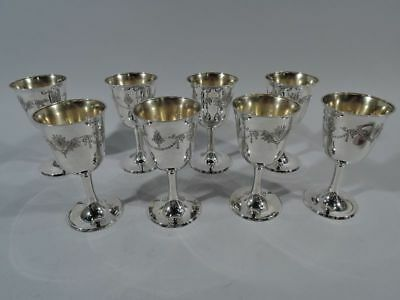 Whiting Goblets - 1694A - Set of 8 Antique Edwardian - American Sterling Silver