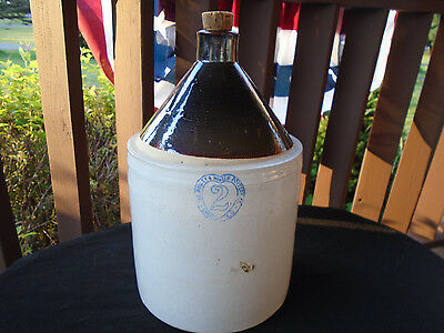 Burley Winter Pottery Stoneware 2 Gal. Jug W/ Cobalt Heart & Pottery Name