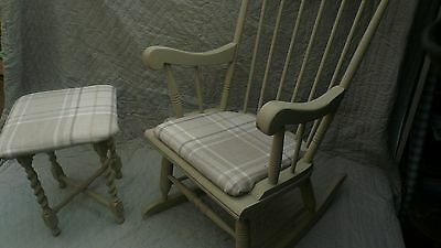 Antique Rocking Chair + Footstool With Wool Pattern Check Seat