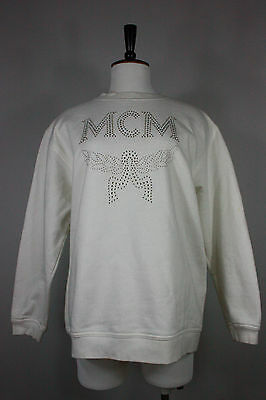 Vintage MCM sweatshirt L cotton rhinestones jewelled oversized 90s white germany