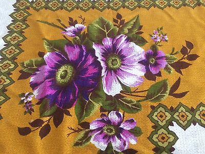 Vintage Mid Century 60s 70s PURPLE GREEN Floral Tablecloth Fabric, Retro