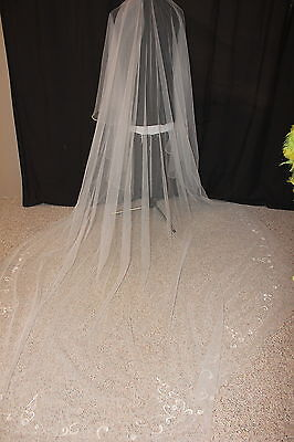 NEW! Cathedral length DROP ivory tulle veil with gold edging, $125