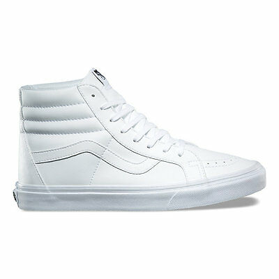 98a46b7bbd Vans SK8 HI REISSUE Mens Womens Tumble True White Leather High Skateboard  Shoes