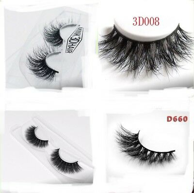 3D 100% Real  Mink Natural Thick False Fake Eyelashes Hand Made Makeup Extension