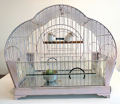 Vintage Hendryx Art Deco Mid-Century Bird Cage Pink w/Painted Glass & Fake Birds
