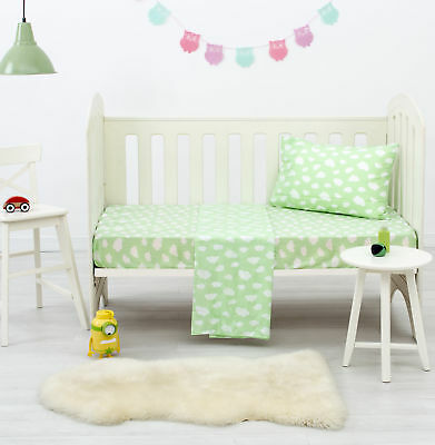 NEW Green Clouds Dreamaker Baby Poly/Cotton Cloud Printed Cot Sheet Set