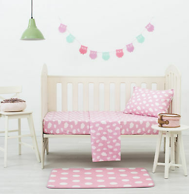NEW Pink Clouds Dreamaker Baby Poly/Cotton Cloud Printed Cot Sheet Set