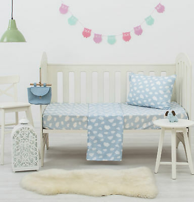NEW Blue Clouds Dreamaker Baby Poly/Cotton Cloud Printed Cot Sheet Set