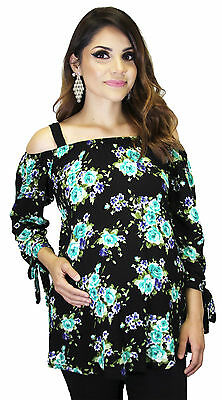 Mint Black Maternity Floral Long Sleeve Top Pregnancy Blouse Womens Top Vintage