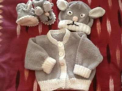 Hand Knitted Baby Mouse Set 3 Pieces Birth To 3 Months  Nice Gift Unisex